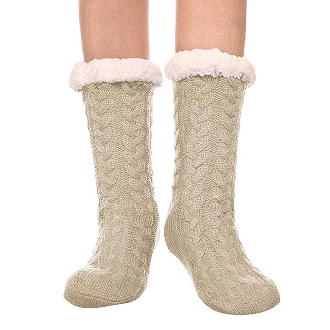 Pingtr Calcetines de tubo de felpa de punto para damas, hombres y niños, calcetines y botines, deportes, zapatos, transpirables, gimnasio, tenis, correr, ...