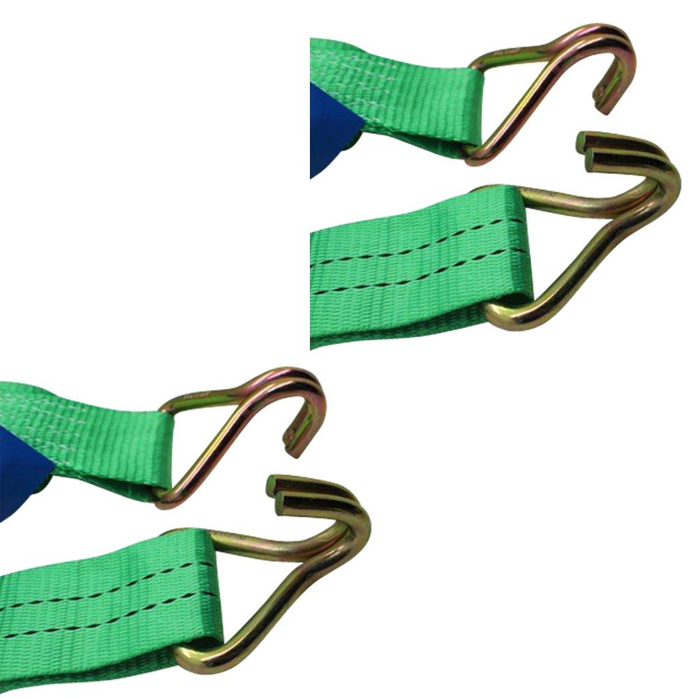 Sangles darrimage 2T avec tendeur /à cliquet Coloris vert Tr/ès r/ésistantes Ratchoox vert Avec poign/ée en caoutchouc pour chargement de remorque