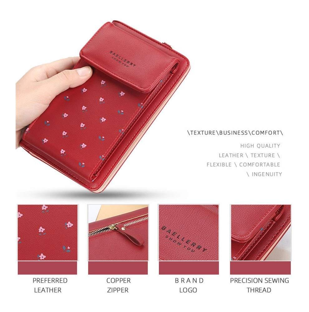 Damplånbok multifunktionell utskrift mobiltelefonväska dam vild magnetiskt spänne PU axel messengerväska (färg: Blå) Röd