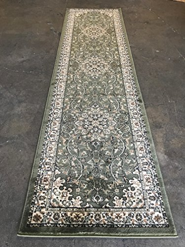 Green Persian Runner - Traditional Long Persian 330,000 Point Runner Rug Green Design 603 (31 inch X9 Feet 10 Inches)
