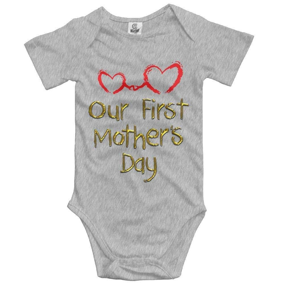 Newborn Babys First Mother Day Short Sleeve Romper Onesie Bodysuit Jumpsuit