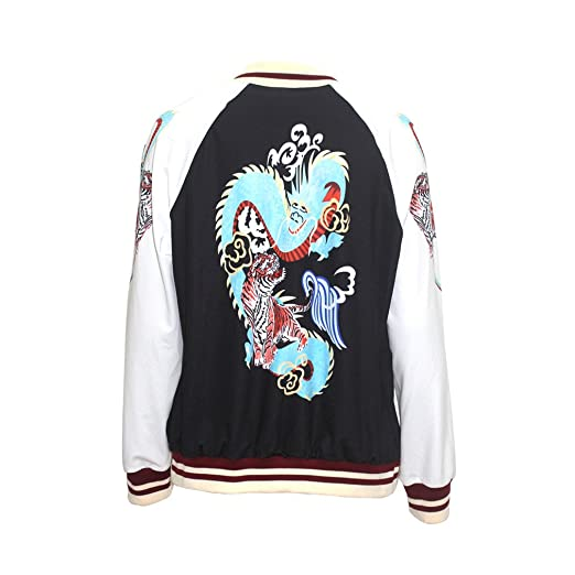 Women Long Sleeve Printed Dragon Paneled Biker Zip Up Baseball Bomber Coat Jacket at Amazon Womens Coats Shop