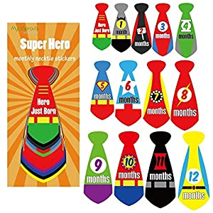Super Hero Monthly Baby Stickers Newborn MileStone NeckTie 0-12 Months Sticker Set + Bonus Newborn Sticker