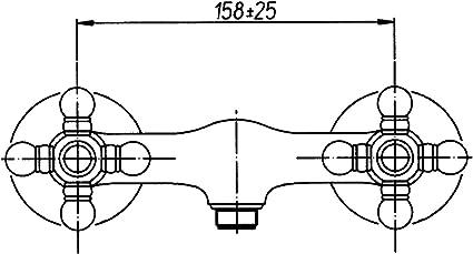 chrom Sanitop-Wingenroth 06611 2 Zweigriffmischer Nostalgie f/ür Brause
