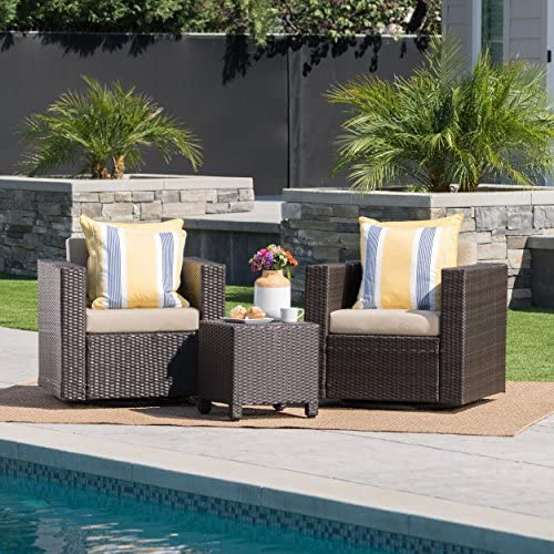 Christopher Knight Home Venice Outdoor Wicker Swivel Chat Set