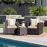 Cheap Venice Outdoor Dark Brown Wicker 3 Piece Swivel Chat Set with Beige Water Resistant Cushions
