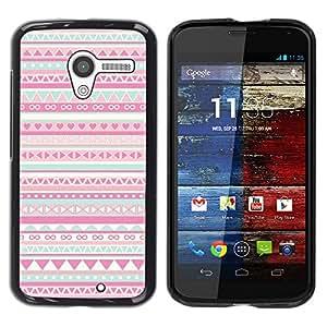 Patrón Native American Folk Rosa- Metal de aluminio y de plástico duro Caja del teléfono - Negro - Motorola Moto X 1 1st GEN I