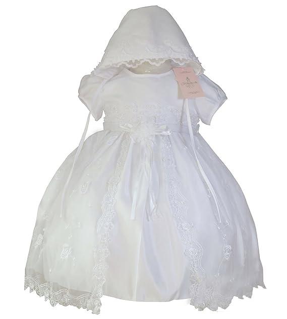 BabyPreg®- Vestido bordado de encaje con sombrero para bautizo, ...