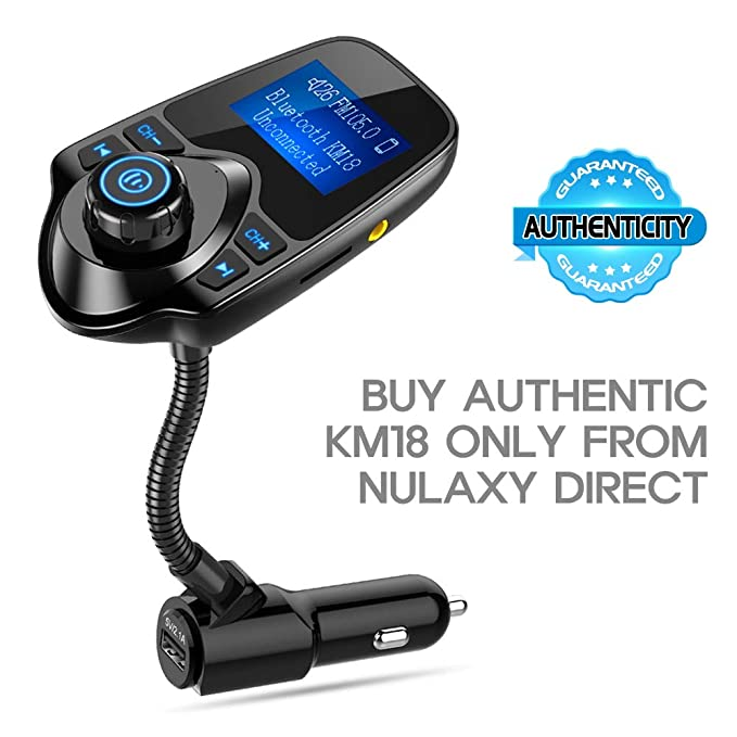 Nulaxy Bluetooth Car FM Transmitter Audio Adapter Receiver Wireless Hands  Free Car Kit W 1 44 Inch Display - KM18 Black