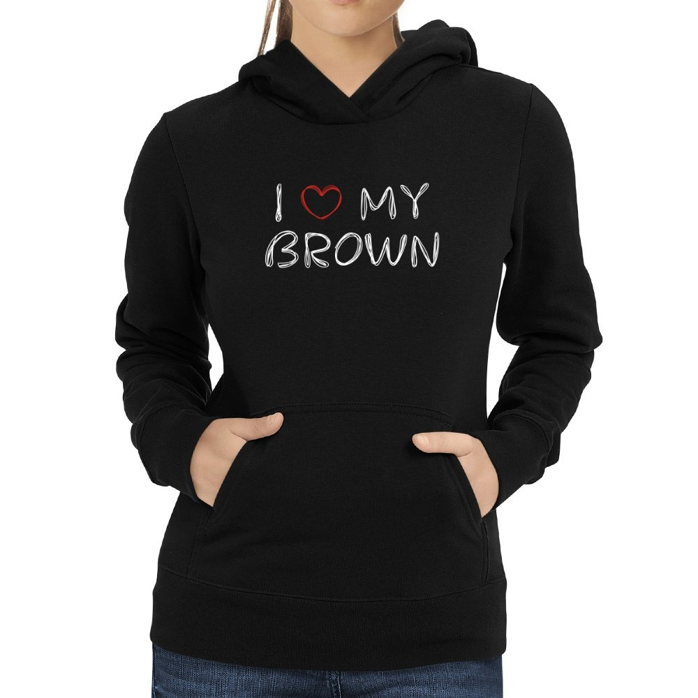 Eddany I Love My Brown Scribbled Font Women Hoodie