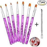 7 pinceaux ongles nail art Brosses et déco d'ongles gel UV,Edge Nails Pince à Cuticules Métallique