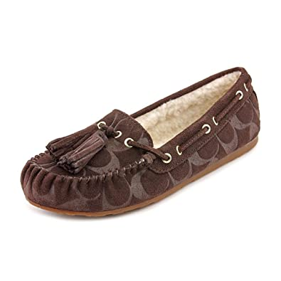 475df82ceec Coach Women s Anita Signature Embossed Suede Shearling Moccasin Slippers  (Chestnut