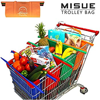 Misue Shopping Cart Trolley Bags -4 Reusable Grocery Bags - Easy to Use and Heavy Duty - Variety of Colors and Sizes- Detachable,Foldable & Reusable