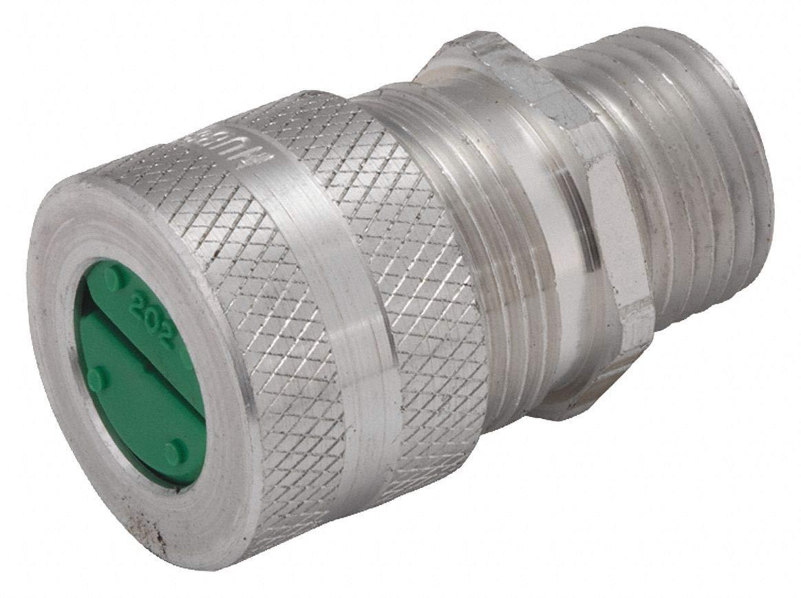 2-5/16''L Aluminum Liquid Tight Cord Connector, Silver, 0.38'' to 0.50'' Cord Dia. Range