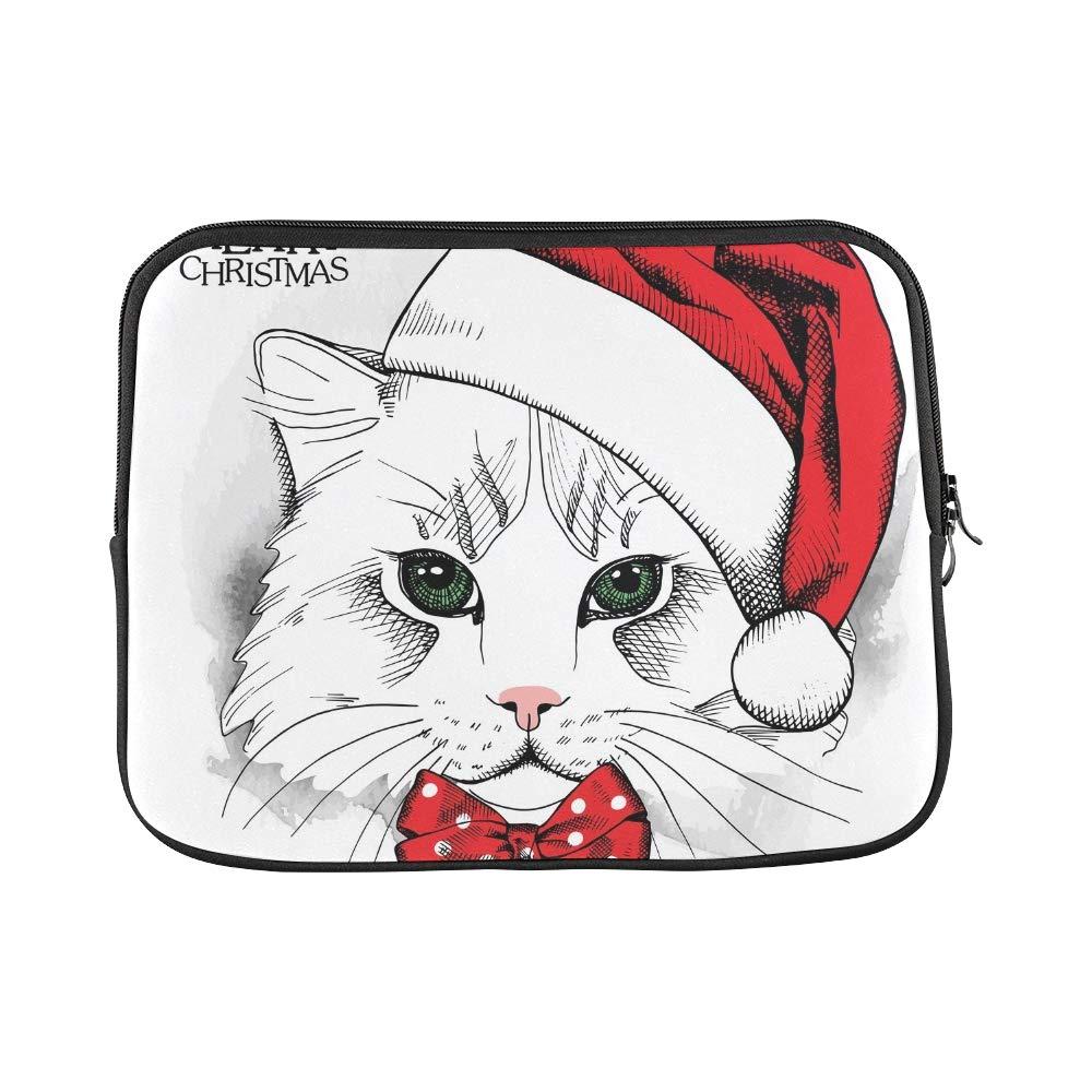 YSJXIM Diseño Personalizado Cartel Gato navideño Gato Cartel Retrato Rojo Santas Manga Funda Suave para computadora portátil Funda Funda para Macbook Air 11