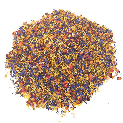 Spring Flower Blend - Edible Rose, Cornflower and Marigold - Organic, non-GMO, Culinary grade (0.35oz) - Edible flowers - Premium Organic Quality - Perfect for Beverages, Cakes and Culinary Delights