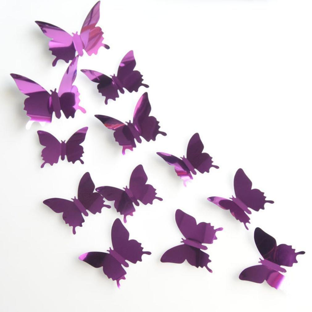Amazon Chouron 12Pcs Butterflies Wall StickersClearance Sale 3D DIY Sticker Stickers Butterfly Home Decor Room Decorations Purple