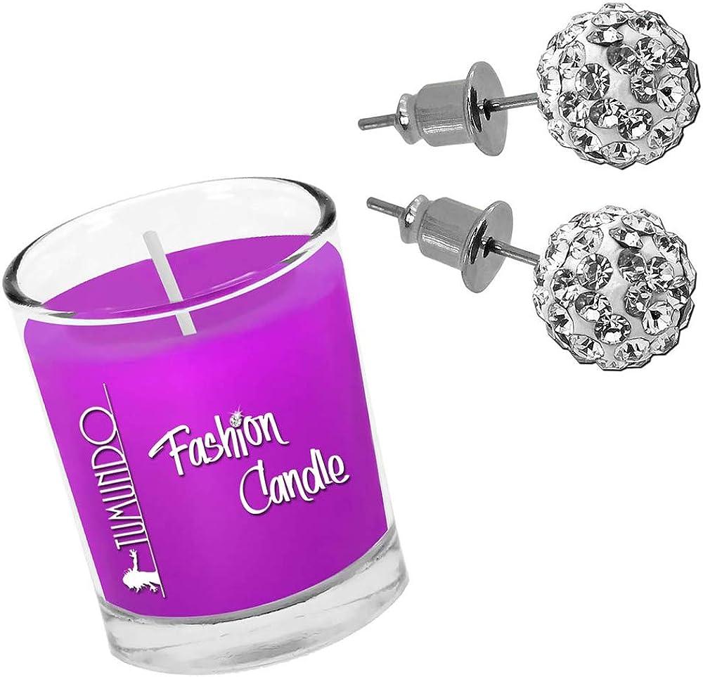Tumundo Fashion Candle Pendientes Oreja Aretes Bola Disco Strass Piedras De Cristal Shamballa Acero Glitter Chica Mujer