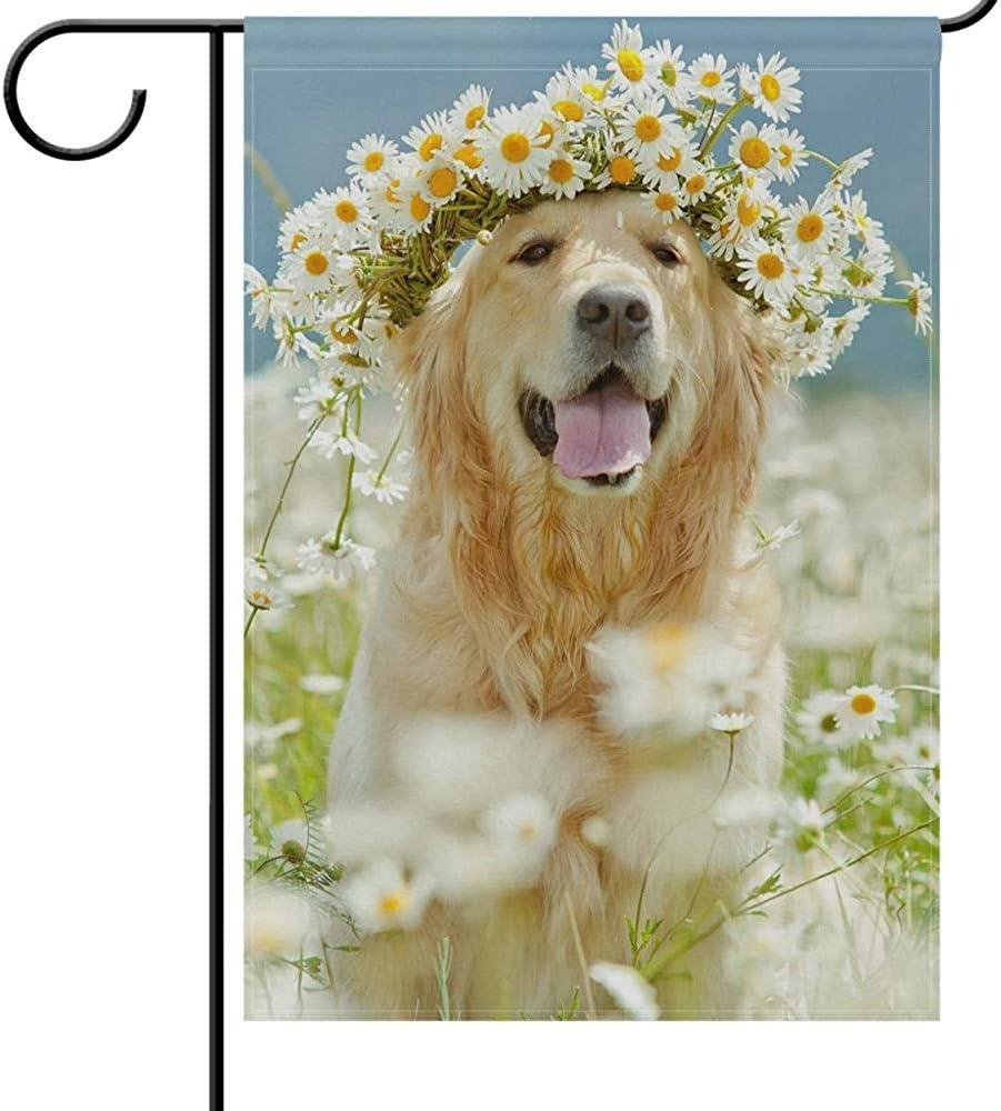 jiaxingdalin Bienvenido Patas Banderas de jardín para Perros Cachorro Divertido Mascota Golden Retriever Perro Sonriendo Margarita Flores Jardín Jardín Bandera al Aire Libre Bandera para Fiestas