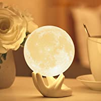 Moon Lamp with Stand Adjustable Brightness and Warm White/Cool White Color, USB Charging Cable. Romantic Moon Light Will…