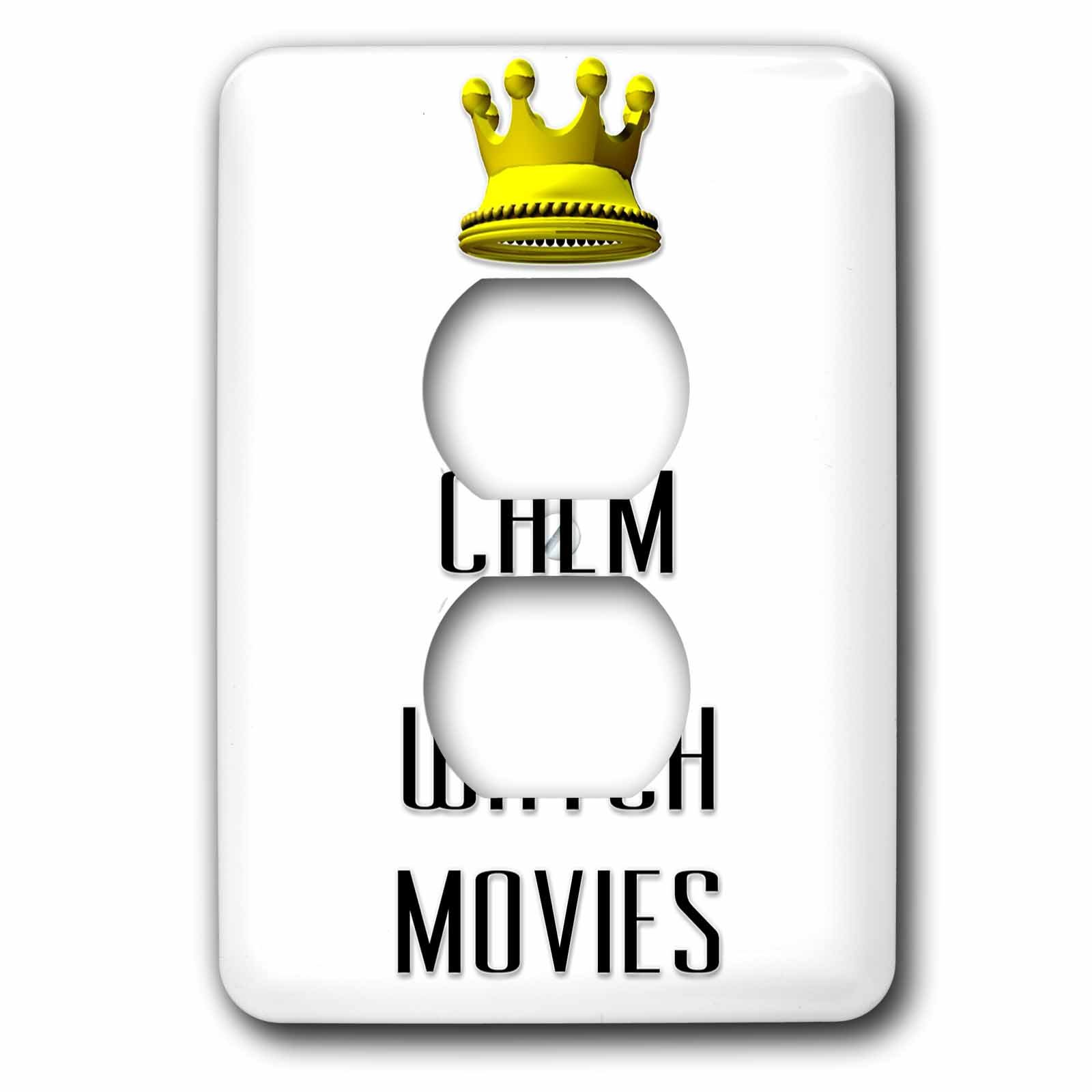 3dRose Lsp_120910_6 Gold Crown Keep Calm and Watch Movies 2 Plug Outlet Cover