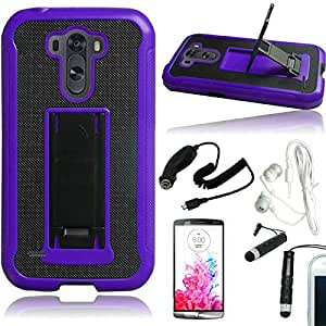 [ARENA] BLACK PURPLE LEATHER HYBRID STAND COVER FITTED HARD GEL CASE for LG G3 + FREE ARENA ACCESSORY KIT