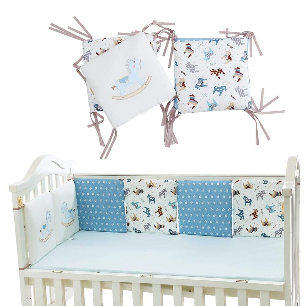 Su-luoyu 6 Bloques 30 * 30 cm Algodón Bebé Valla de protección de Cama Patrón de Caballo de Madera Lindo Ropa de Cama para bebés Protege a tu Bebe
