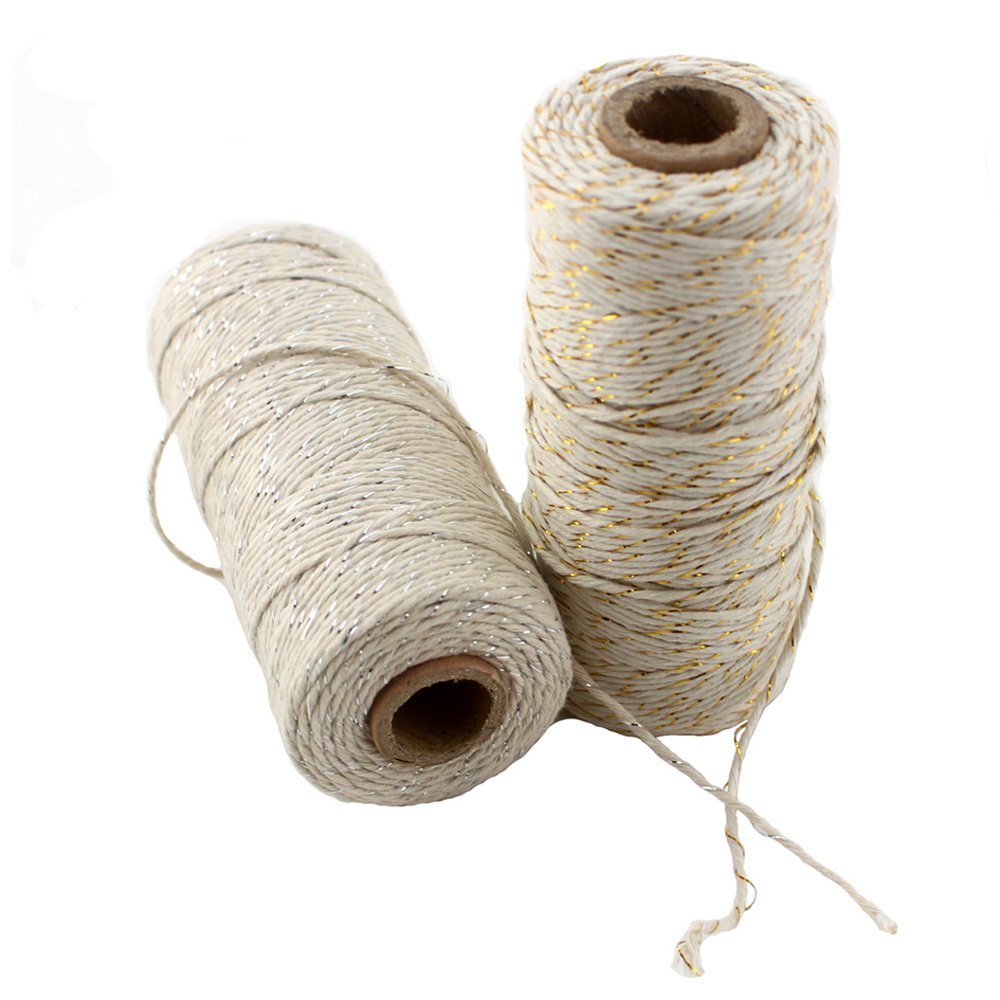 100m IPALMAY 2PCS Cotton Bakers Twine for Garden Twine or Gift Wrapping, Spool 3-Ply