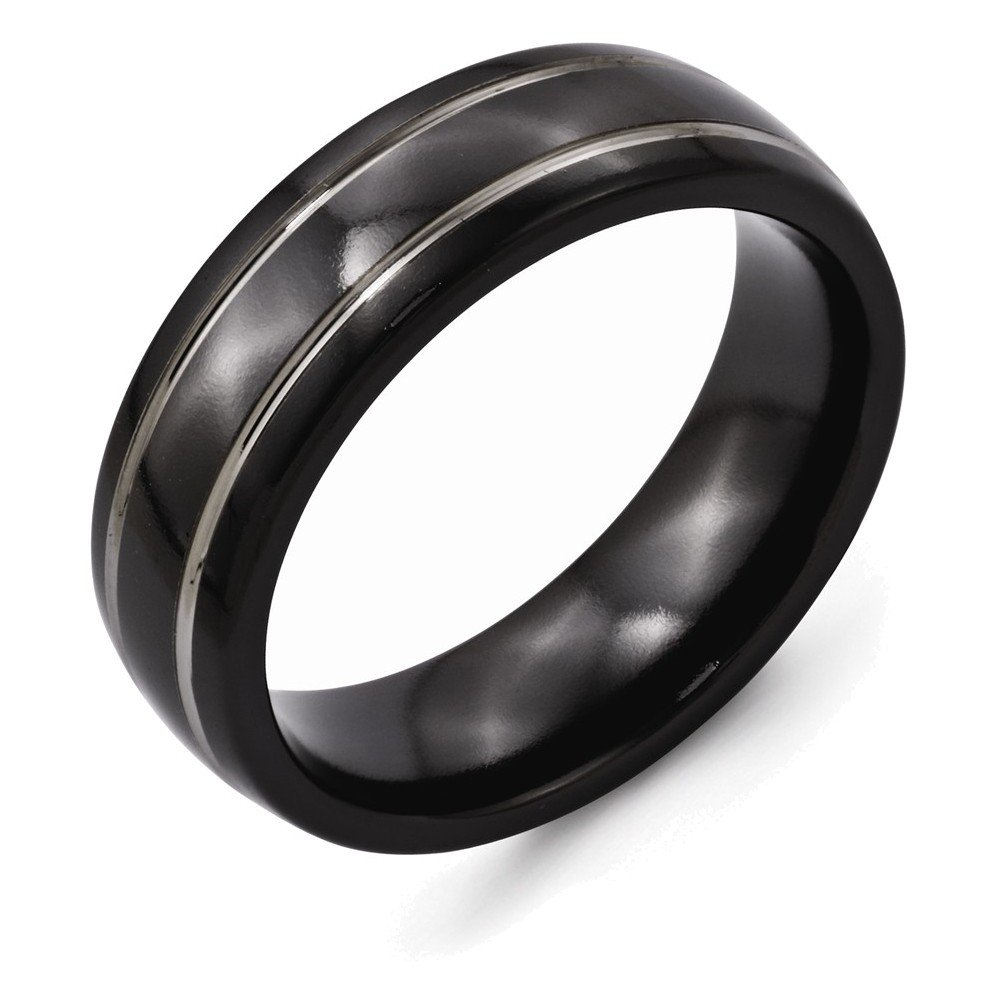 Jewelry Adviser Rings Titanium Black Ti Two-tone Grooved 7mm Polished Band