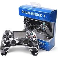 RQINW Manette Dual Shock 4 V2 pour PS4 - Noir, Prise Casque stéréo,commentaires sur Les Vibrations,Connexions sans Fil,Chargement USB,Le Design Ergonomique ajoute au Confort(Camouflage Gris)