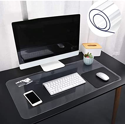 60 x 30 cm grande tappetino da scrivania in PVC Tappetino antiscivolo trasparente da scrivania tappetino impermeabile per ufficio casa scrivania con bordi arrotondati