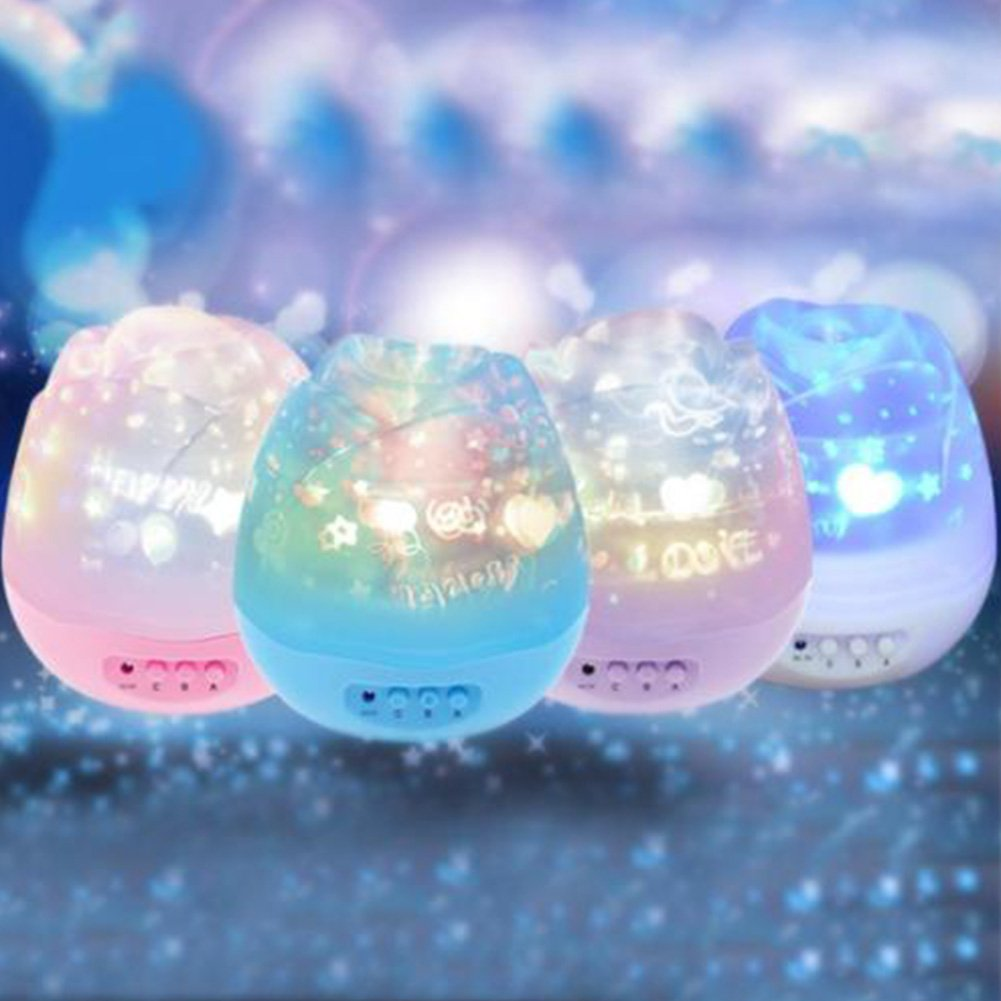 Yiding Romantic Rose LED Night Lamp Starry Sky Rotation Projector Lamp USB Rechargeable Kids Baby Sleeping Lights