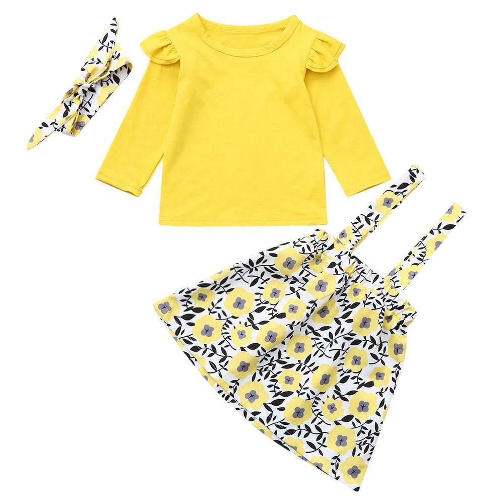 Zerototens 3Pcs Baby Girls Dress Set,0-4 Years Old Toddler Kids Baby Girls Long Sleeve Ruffle Sleeve T-Shirt +Floral Suspenders Skirt +Headband Baby Clothes