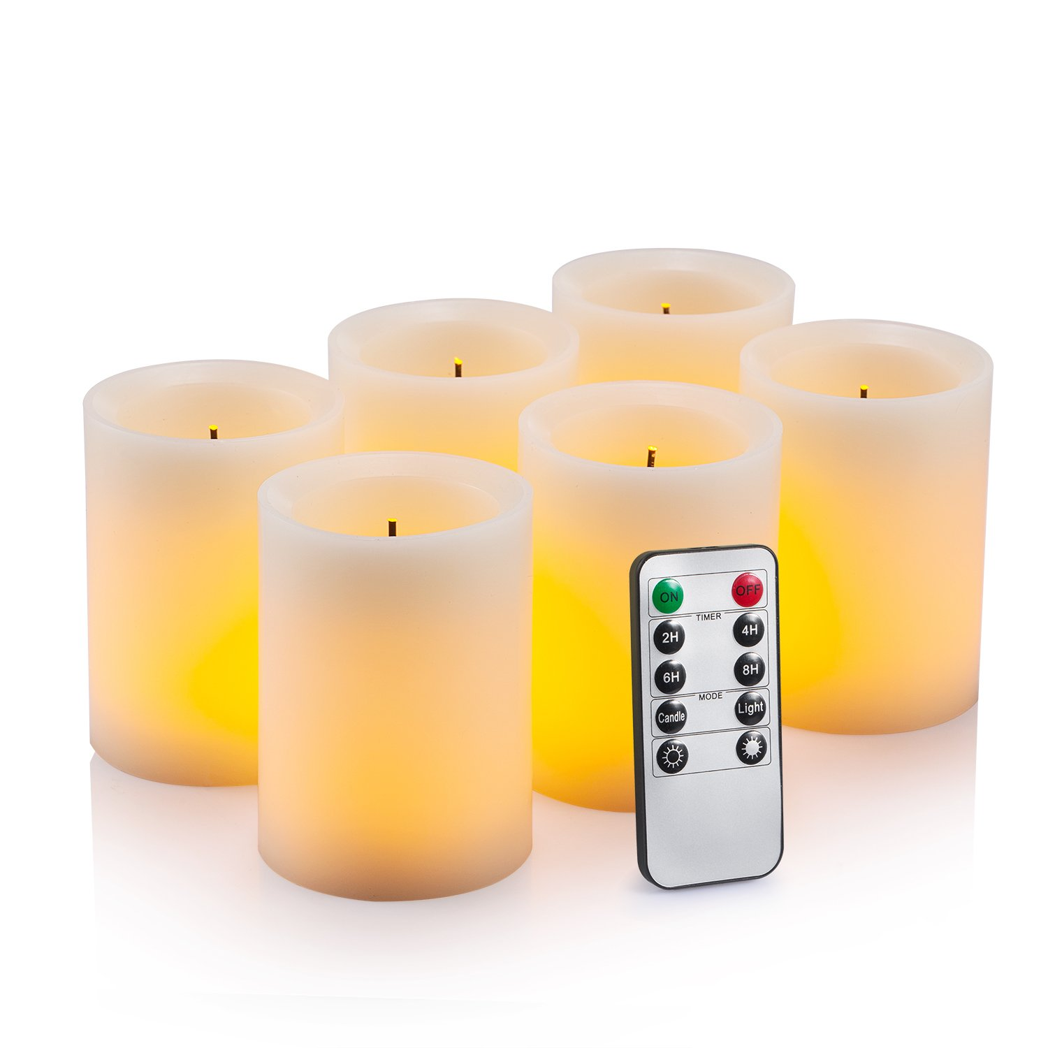Flameless flickering led candles 3 x 4 with 10 key remote control timer