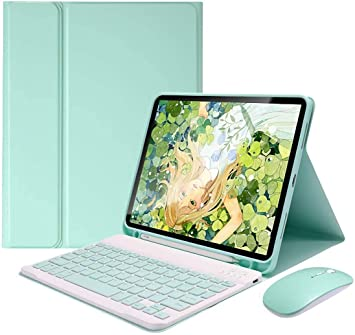green-10.9 iPad Air 4th Generation 10.9 Inch Keyboard Case 2020-LUCKYDIY Wireless Keyboard Cover with Pencil Holder Keyboard Case for iPad Air 4th Gen with Magnetic Detachable