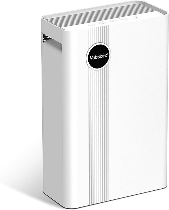 Purificador de Aire con Filtro HEPA Verdadero, 4 Etapas de Filtración con Generadores de Iones para 50㎡, 4 Velocidades & 3 Temporizadores, CADR de 230 m³/h, Captura de Humo, Polvo, Caspa de Mascotas