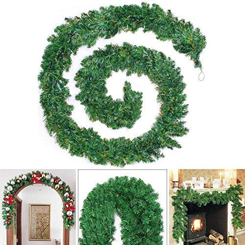 9 Feet /2.7M Christmas Hanging Green Wreath Garland Wall Door Stairs Ornaments Xmas Christmas Festive Decoration