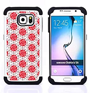 - tiles pattern white red peach/ H??brido 3in1 Deluxe Impreso duro Soft Alto Impacto caja de la armadura Defender - SHIMIN CAO - For Samsung Galaxy S6 G9200