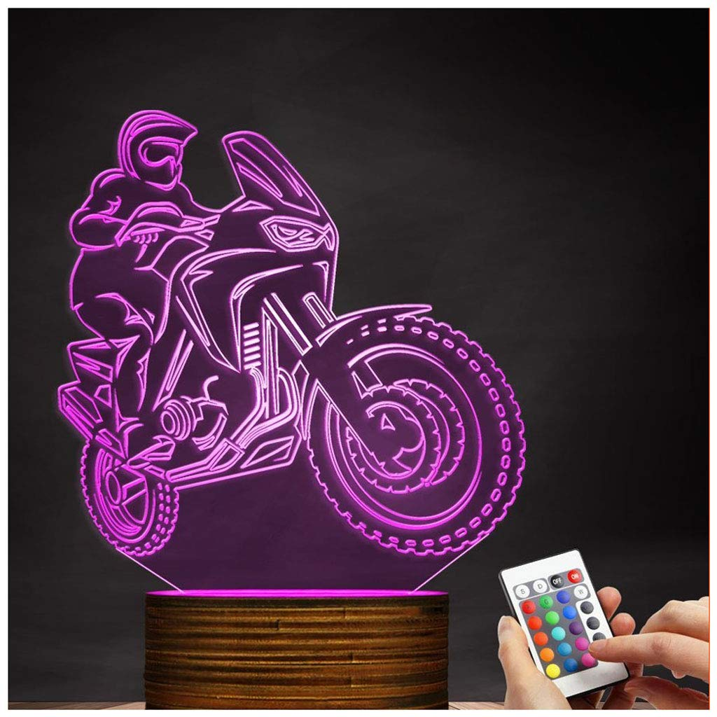 Novelty Lamp, 3D LED Lamp Optical Illusion Motorcyclist Night Light, USB Powered Remote Control Changes The Color of The Light Birthday Gift Decoration Baby Boy Girl Child,Ambient Light