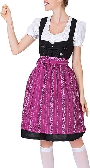 Berimaterry Vestido Dirndl para Mujer Disfraz de Bávaro de Manga ...