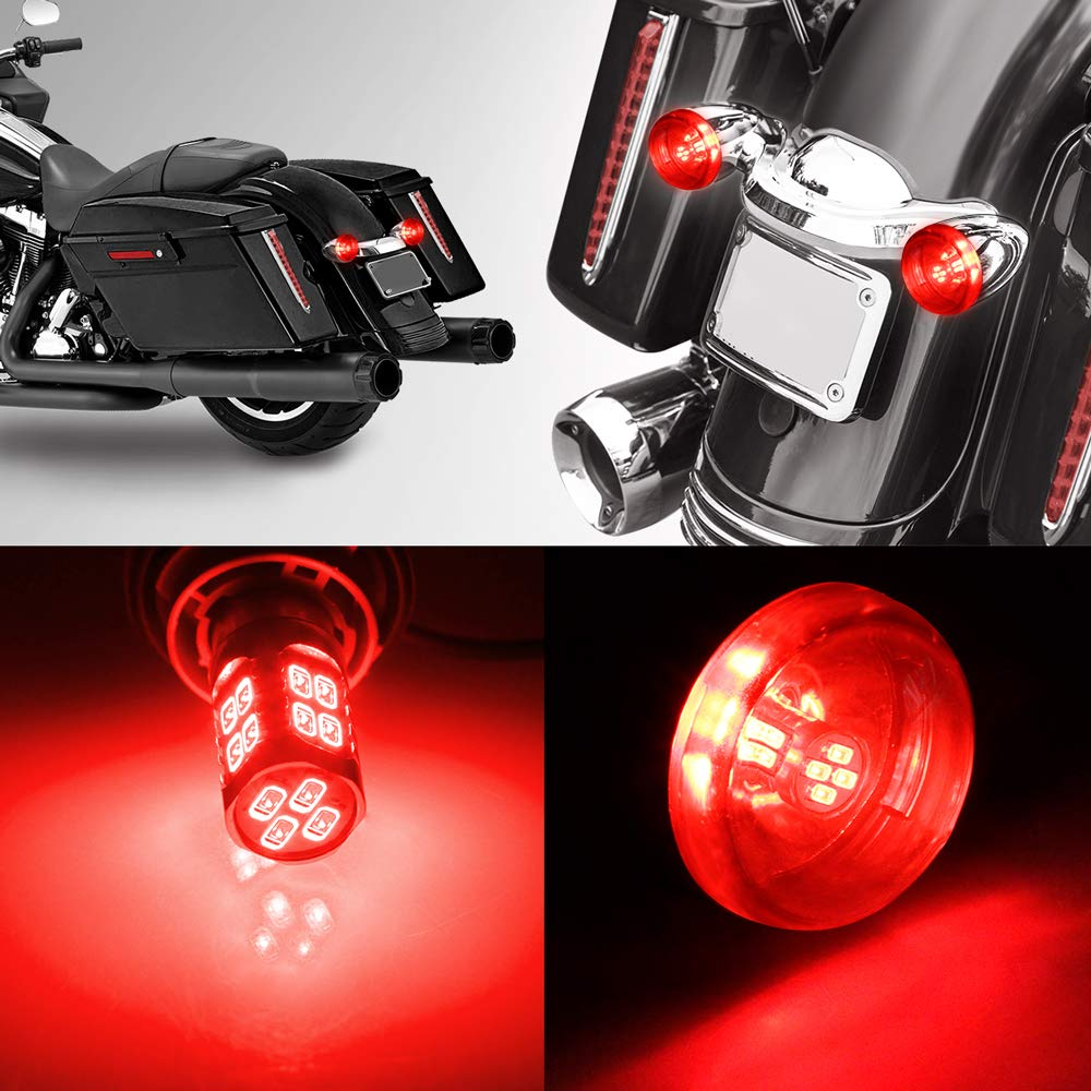 Metal Housing RUXIFEY Smoked Bullet Chrome Rear Turn Signals Light 1156 LED Compatible with Harley Davidson Dyna Street Glide Road King