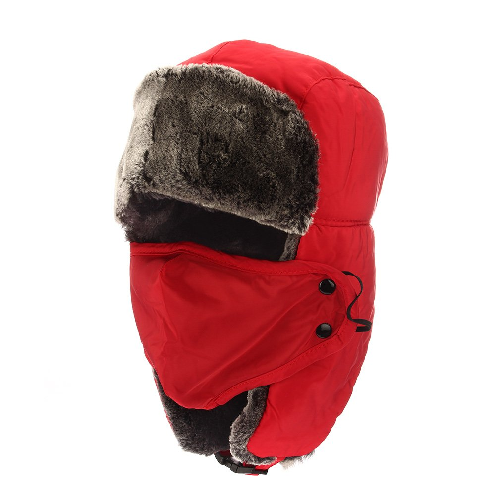 Colleer Winter Unisex Bomber Hats Trooper Trapper Hunting Hats Ushanka Russian Ear Flaps Chin Strap with Windproof Mask for Skiing,Skating and Climbing HWMZ025CP_2_WK_UK