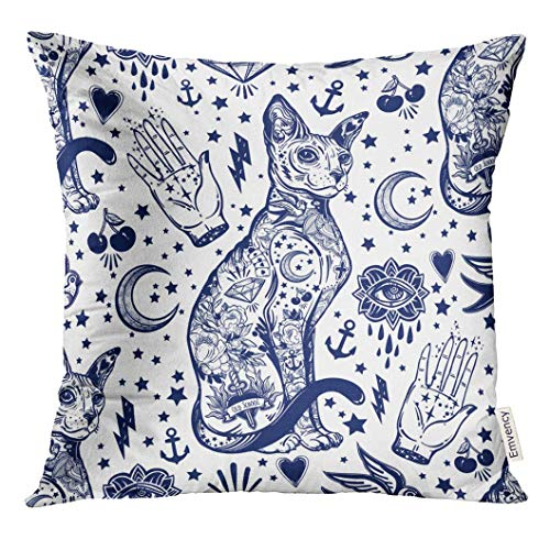 TOGEFRIEND Throw Pillow Cover Blue Ink Vintage Style Traditional Tattoo Flash Magic Inked Cat Doodle Trendy Stylish Old School Artwork Decorative Pillow Case Home Decor Square 18x18 Inches Pillowcase