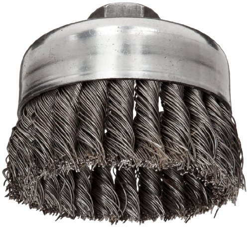 Weiler Wire Cup Brush, Threaded Hole, Steel, Full Twist Knotted, 4
