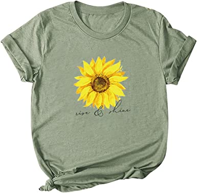 Sunhusing Womens Crew Neck Short Sleeve Sunflowers Print Casual Blouse Tops Loose Plus Size Pullover T-Shirt