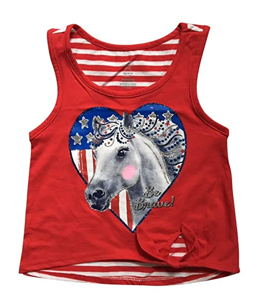 3205e81bafc728 Amazon.com  Patriotic Tanks Girls Graphic Tank Tops Be Brave Horse X-Small  4-5 Multicoloured  Clothing