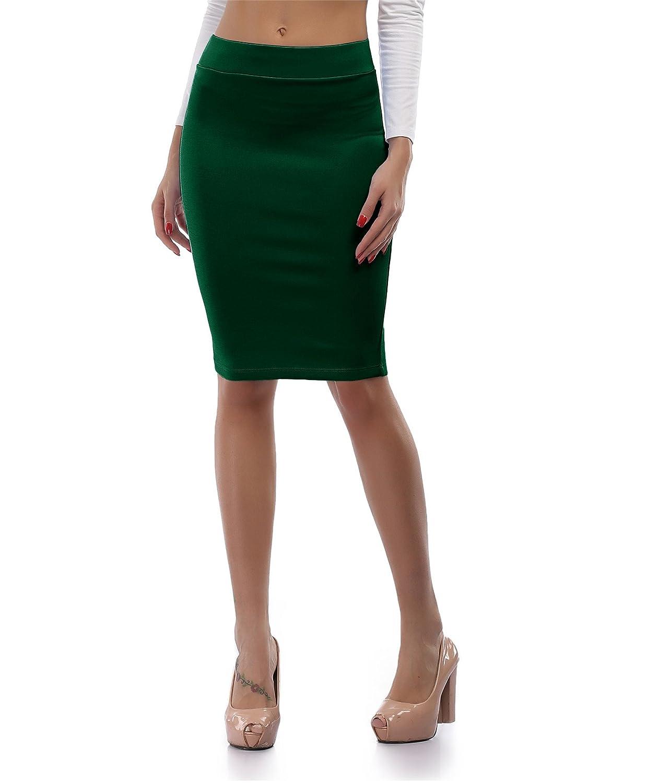 cheapestbuyレディースハイウエストボディコン鉛筆スカートよく伸びるShort Fitted Miniスカートピュアカラー B0713ZVK89 Large|ダークグリーン ダークグリーン Large