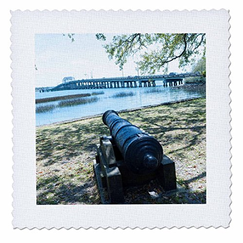 Bridge South Park (3dRose Danita Delimont - Weapons - South Carolina, Beaufort, waterfront park and Woods Memorial Bridge - 18x18 inch quilt square (qs_259983_7))