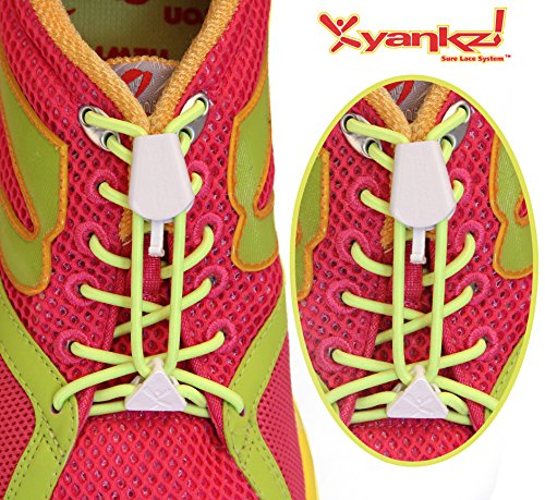 Yankz Sure Lace Round Elastic Shoe Laces, Fluorescent Yellow with White, One Size