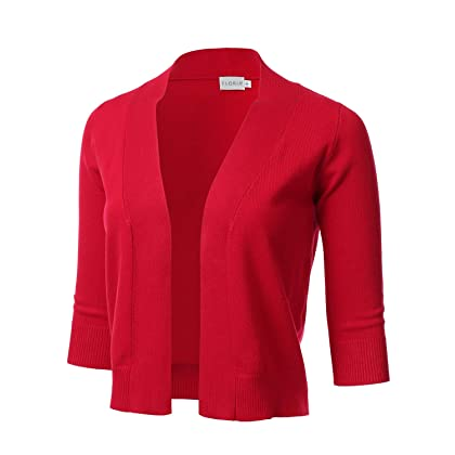 caab447f381a FLORIA Womens Classic 3 4 Sleeve Open Front Cropped Cardigan RED S